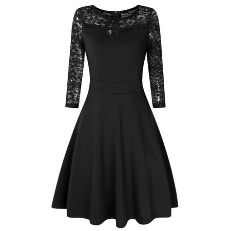 Women Elegant 3/4 Sleeve Fit and Flare Party Cocktail Swing Mini Lace (Alexis Bridget Lace Fit & Flare Dress)