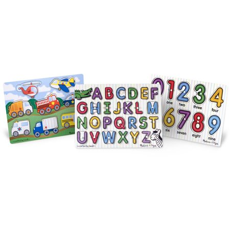 - Melissa & Doug Wooden Peg Puzzles Set, Alphabet, Numbers, and Vehicles