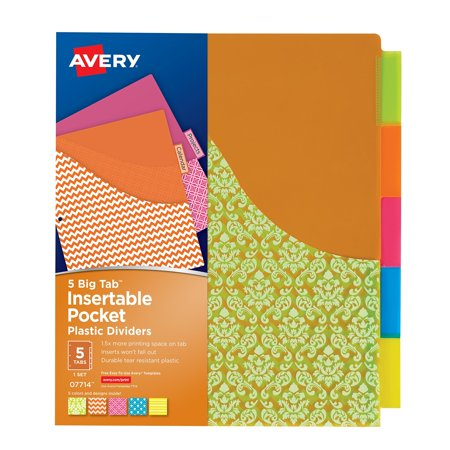 Avery Big Tab Insertable Plastic Dividers With Pockets 07714  5 Tabs  1 Set  Assorted Fashion Designs