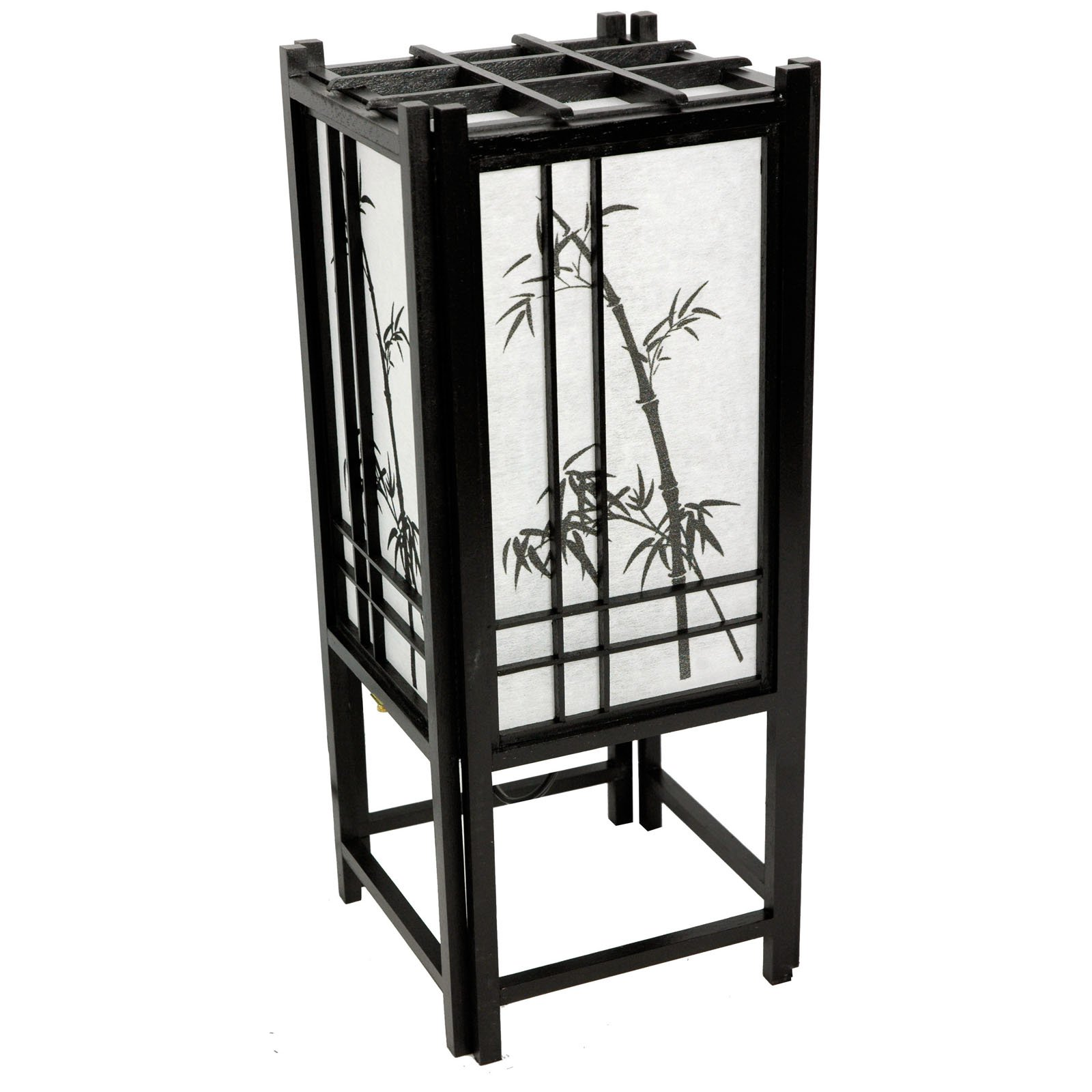 Oriental Furniture Bamboo Tree Lamp 18 Inch - Black