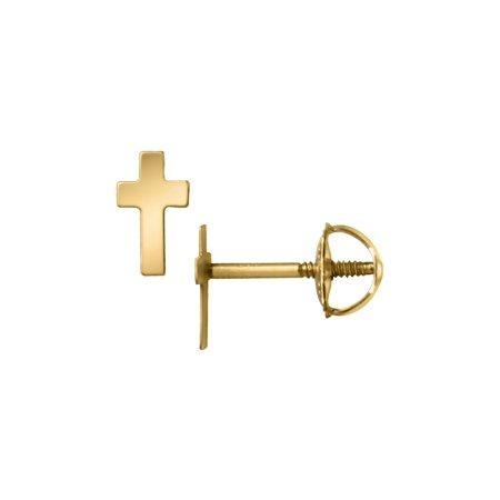 (Baby junior Cross Earrings in 14K Yellow Gold with Screwbacks)