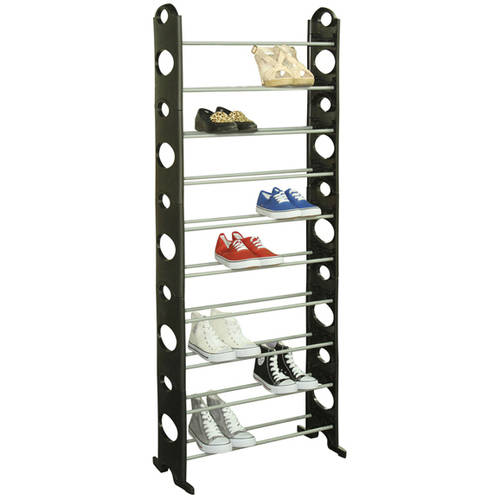 Sunbeam 30-Pair Metal and Plastic Shoe Rack, Black