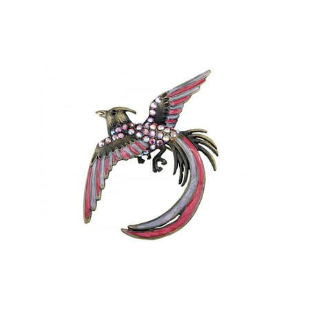 Aurora Borealis Rhinestone Brooch (Vintage Inspired Aurora Borealis Crystal Rhinestone Cool Phoenix Bird Brooch Pin )