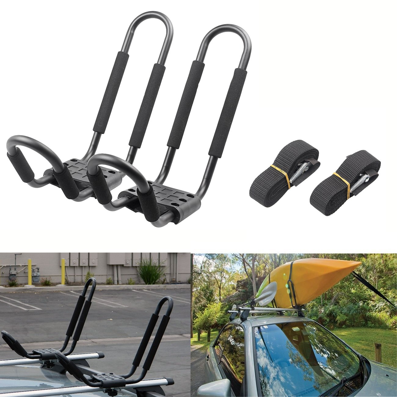 Gzyf Pair Universal Kayak Roof Rack Carrier For Car Boat