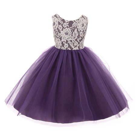 Kids Dream Girls Purple Lace Tulle Sleeveless Easter Dress - Lace Childrens Dress