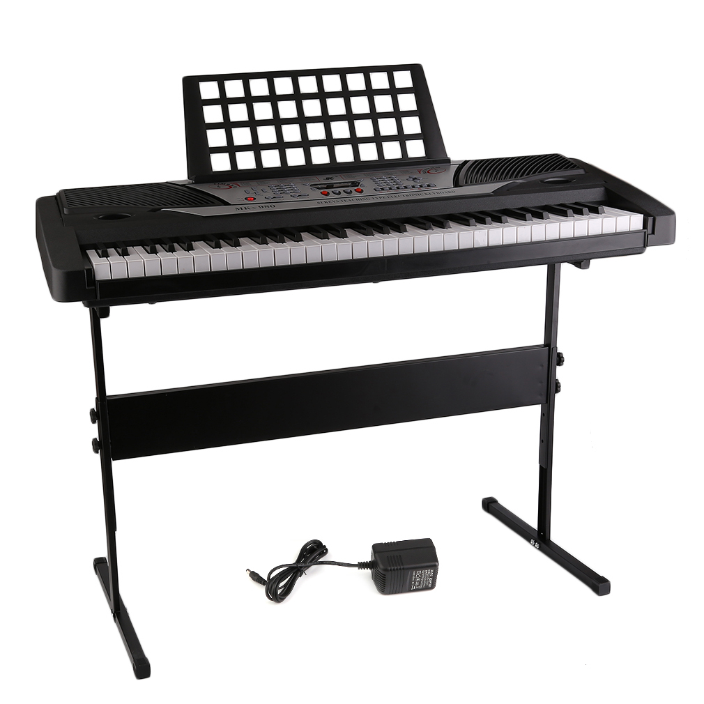 Electronic Organ 61 Key Standard Keyboard Mk-980 Led Display Electronic Piano Organ Professional Instrument Kids Children Chrismas Gift Black And Silver And White