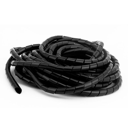 33ft Length 10mm Diameter Tube Computer Manage Cord Cable Wire Spiral Wrap Black - image 1 de 3