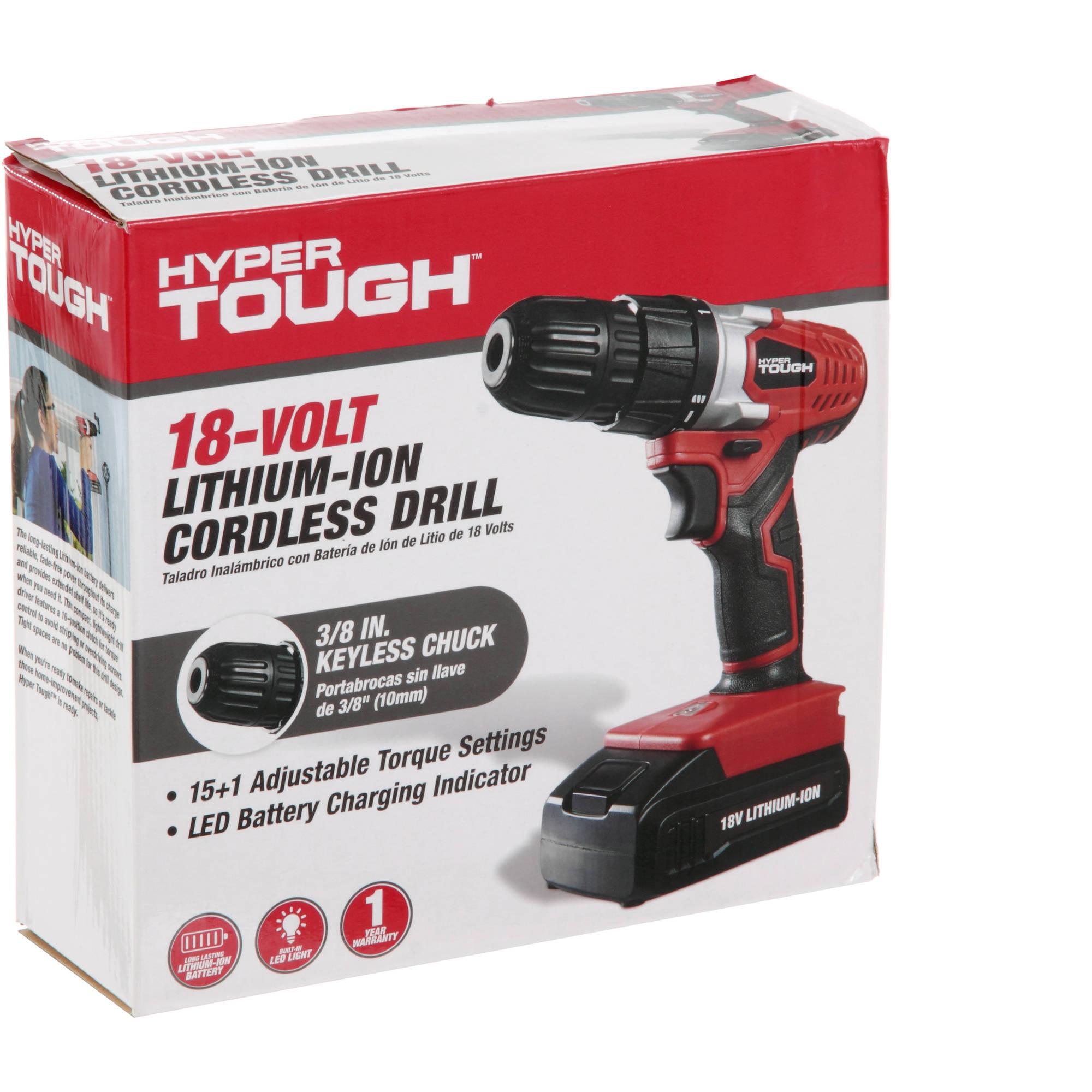 Hyper Tough 18V Lithium-Ion Cordless Drill/Driver - Walmart.com