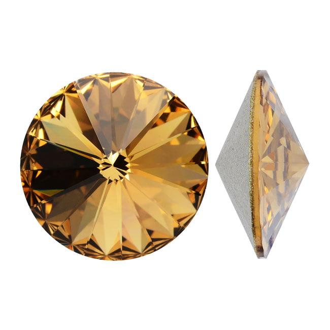 Swarovski Crystal, #1122 Rivoli Fancy Stones 12mm, 4 Pieces, Lt Colorado Topaz Sf