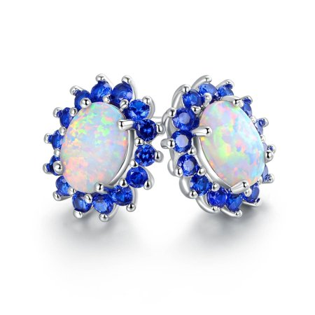 White Gold Plated White Fire Opal & Blue Quartz Flower Stud Earring