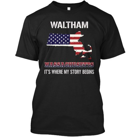 Waltham MA - Story Begins Hanes Tagless Tee T-Shirt
