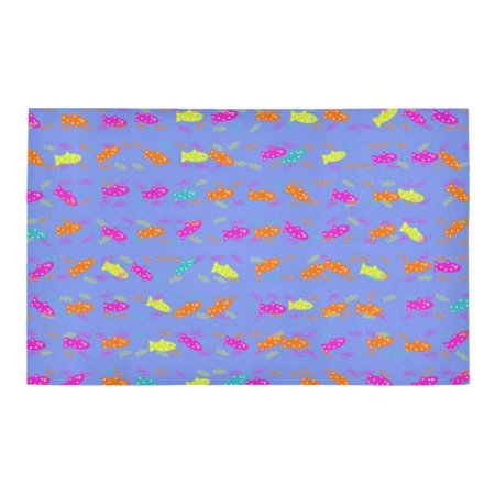 RYLABLUE cute fish pattern Non-Slip Bath Rug Bath Mat Rug Doormat 30x18 inches - image 2 of 3