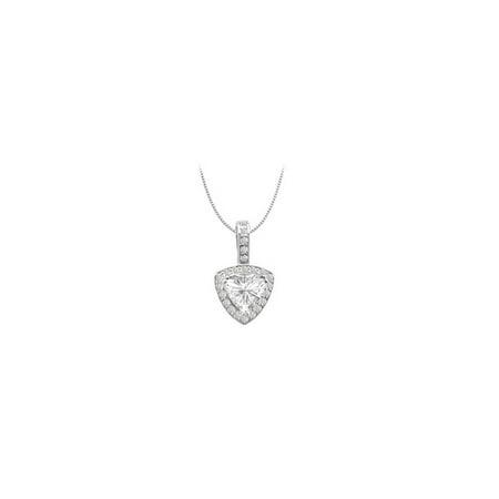 14K White Gold Cubic Zirconia Round and Trillion Cut Pendant 3 Carat Total Gem Weight - image 2 de 2