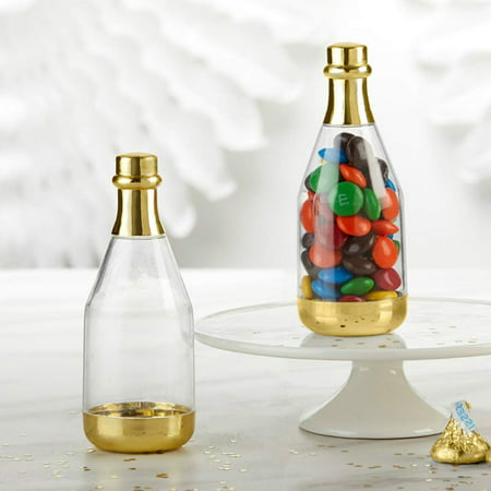 Kate Aspen Party Favor Containers, Metallic Champagne Bottle Containers, Perfect Wedding Favors, Bridal Shower Favors, DIY Favor & More (Gold, 2 Set of 12, 48 Pcs) ()