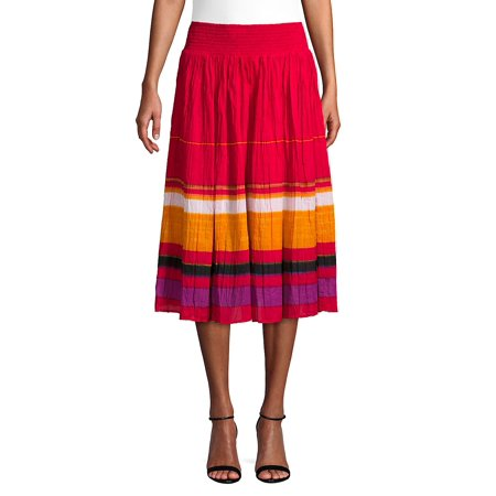Colorblock Cotton A-Line Skirt