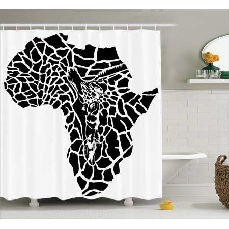 Safari Decor Shower Curtain Set, Illustration Of Africa Continent Map As A Animal Skin Wilderness Species Art Print, Bathroom Accessories, 69W X 70L Inches, Black White By Ambesonne