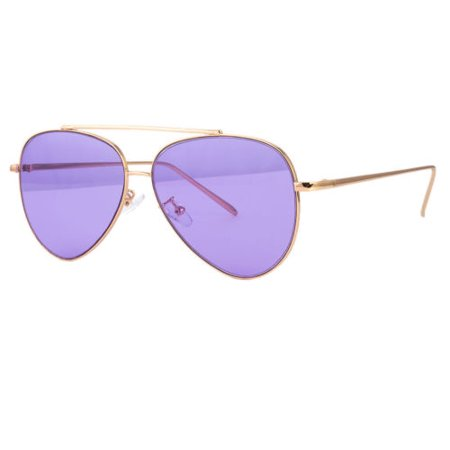 CLASSIC AVIATOR SUNGLASSES RED BLUE TINTED LENS SILVER ALL METAL (Blue Tinted Aviators)