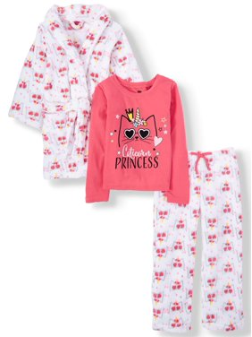 Chili Peppers Fleece Robe & Matching Pajamas, 3Pc Set (Little & Big Girls)