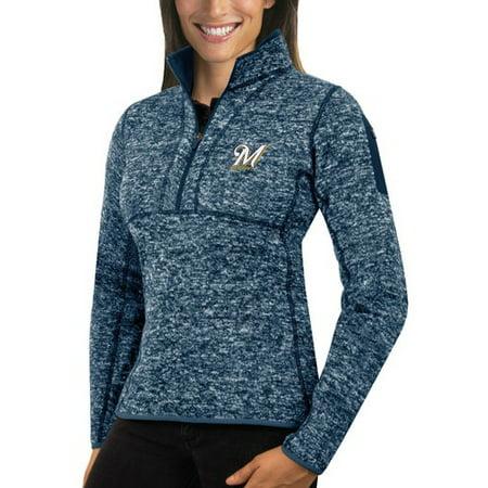 - Milwaukee Brewers Antigua Women's Fortune Half-Zip Pullover Sweater - Heathered Navy