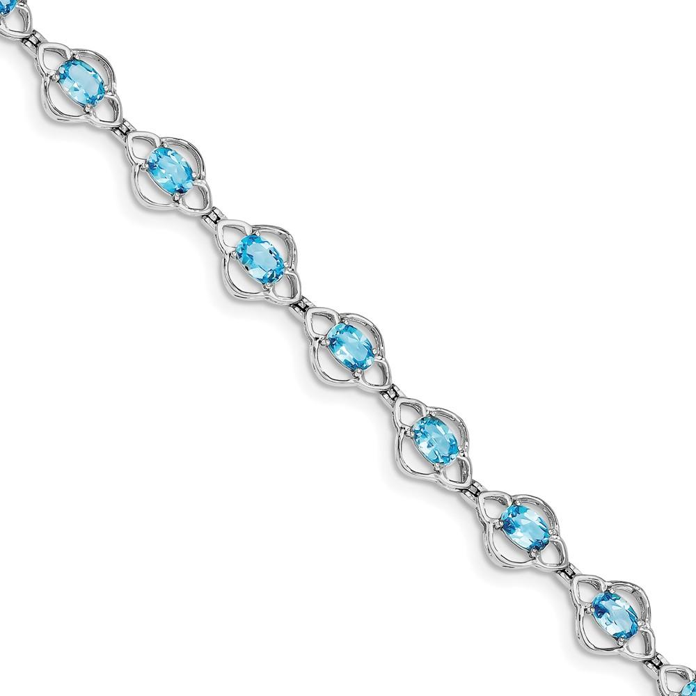 "925 Sterling Silver Light Swiss Blue Simulated Topaz Bracelet -7"" (7in x 9mm) by"