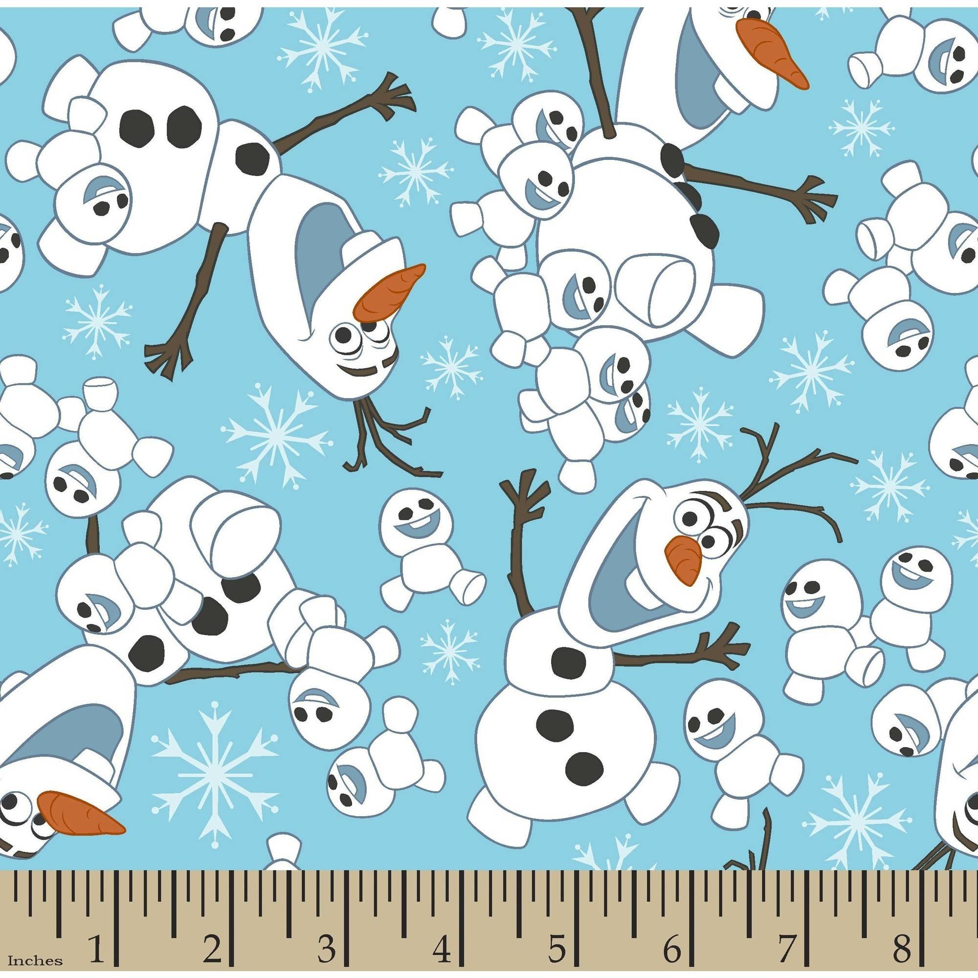 Disney Frozen Fever Olaf Snowman Toss 43/44 Fabric by the Yard