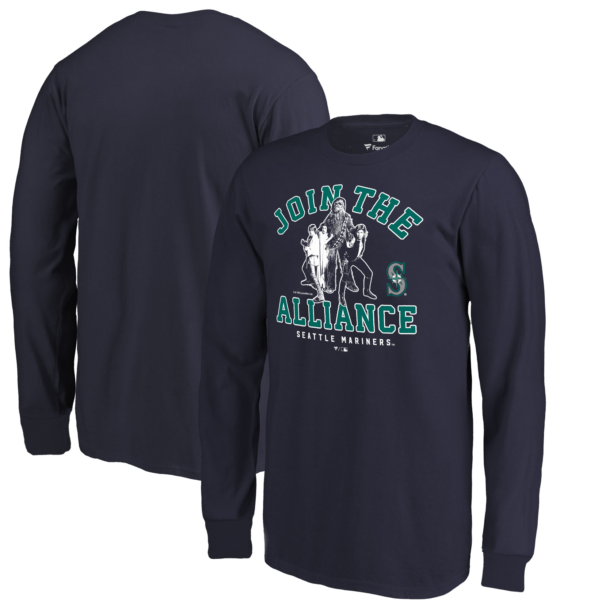 Seattle Mariners Fanatics Branded Youth MLB Star Wars Join The Alliance Long Sleeve T-Shirt - Navy