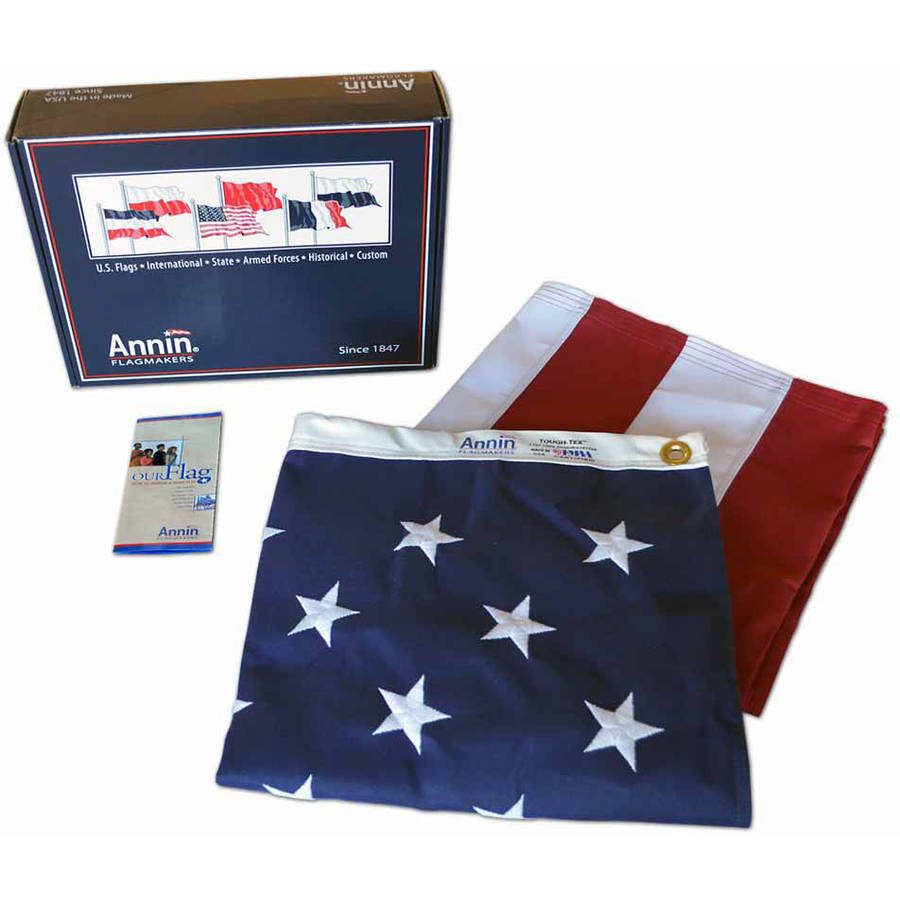 American Flag, 5' x 8', Tough-Tex with Sewn Stripes, Embroidered Stars and Brass Grommets, Model# 2730