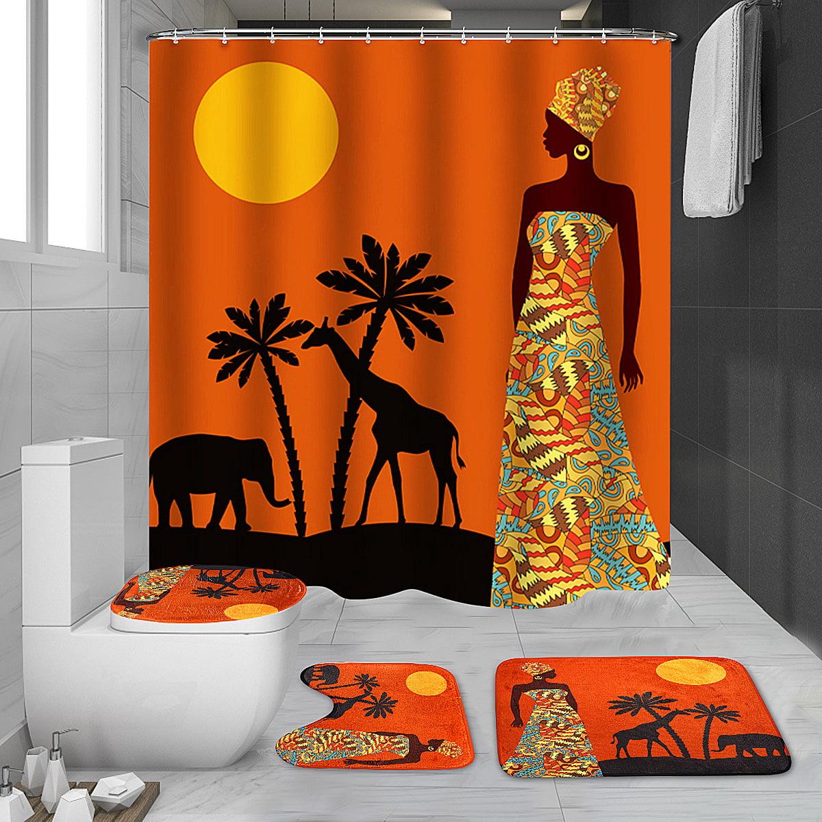 Bathroom Shower Curtain+Non-slip Bath Mat Pedestal Toilet Seat Cover Lid Rug