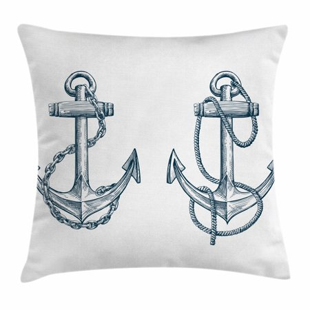 Anchor Throw Pillow Cushion Cover, Vintage Sketch of Nautical Element Ship Sailing Travel Theme Artistic Chain Rope, Decorative Square Accent Pillow Case, 16 X 16 Inches, Black White, by Ambesonne - Nautical Throw