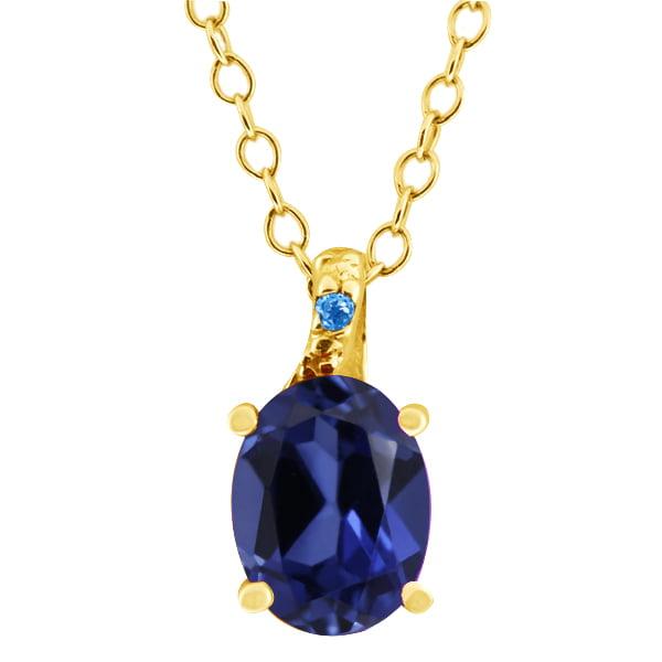 1.68 Ct Simulated Sapphire Swiss Blue Simulated Topaz 18K Yellow Gold Pendant
