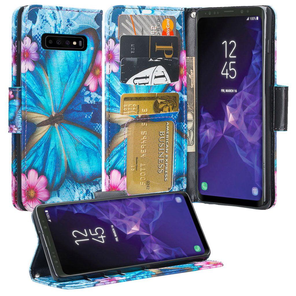 Samsung Galaxy S10 Case, Leather Flip Wallet Case Cover Folio [Kickstand] Phone Case Cute Girls