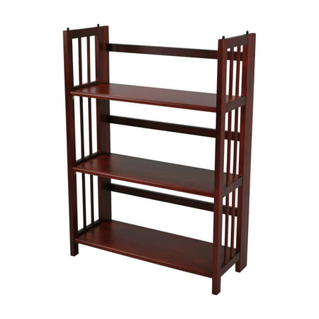 - (Set of 2) 3-Shelf Folding Stackable Bookcase 27.5