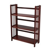"(Set of 2) 3-Shelf Folding Stackable Bookcase 27.5"" Wide-Mahogany"