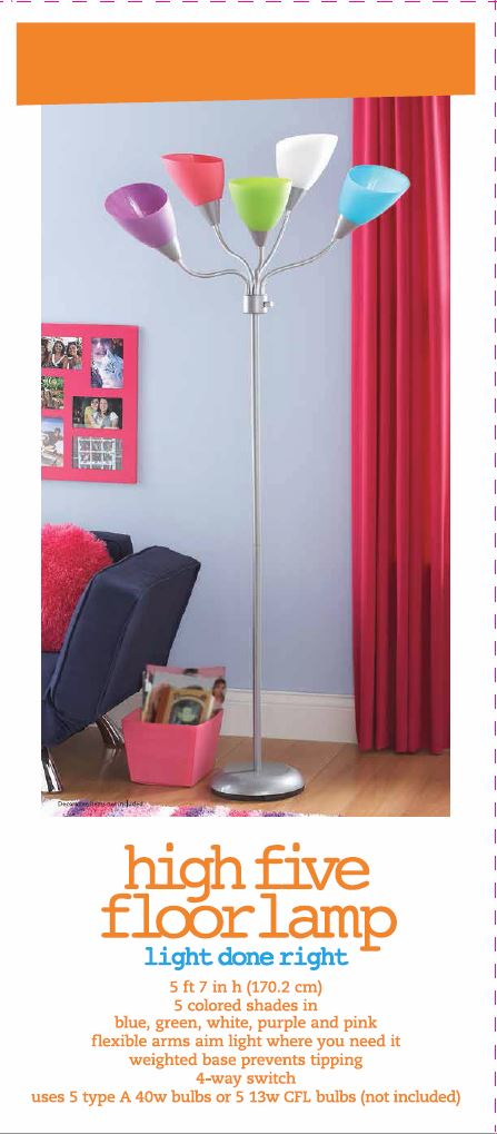 Your Zone High Five Floor Lamp: ,Lighting