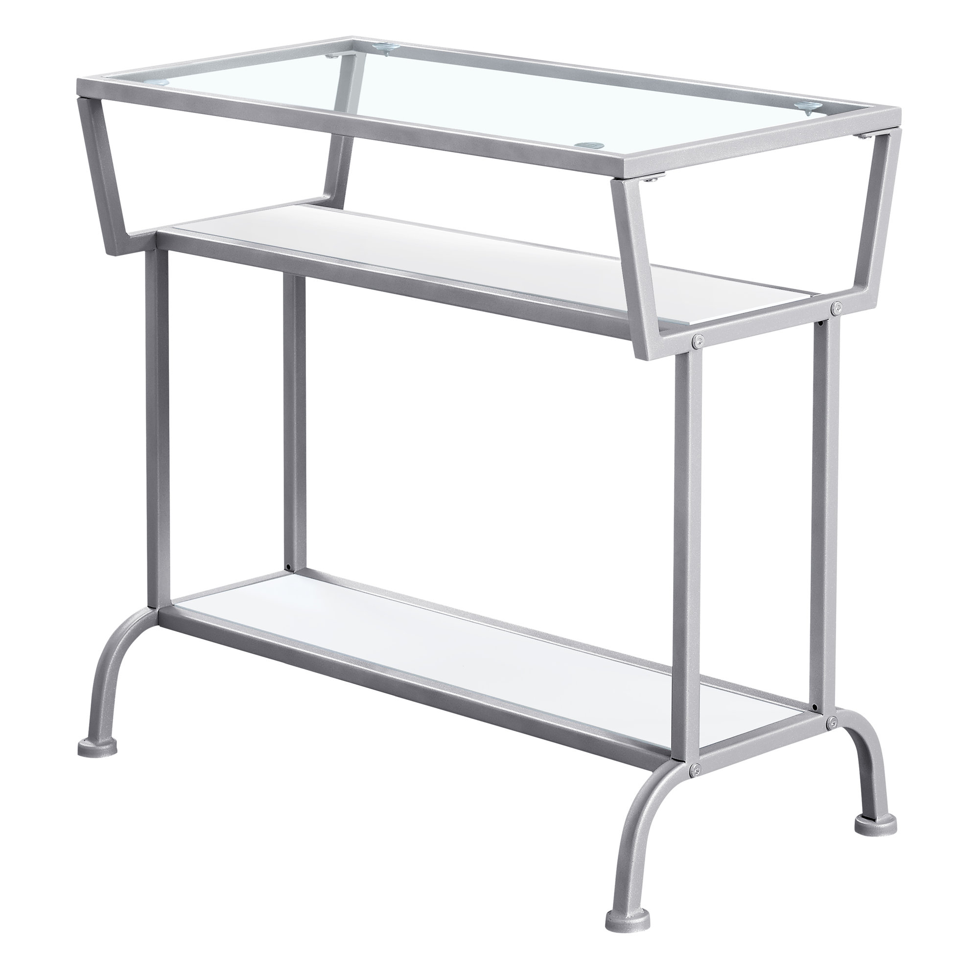 "ACCENT TABLE - 22""H / WHITE / SILVER / TEMPERED GLASS"