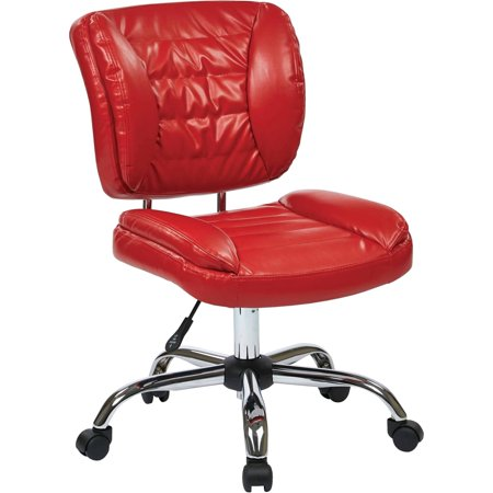 Office Star Armless Task Chair With Red Faux Leather And Chrome Base Walmar