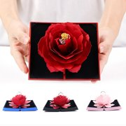 Bluelans Folding Fake Rose Wedding Ring Box Holder Jewelry Display Gift Storage Case