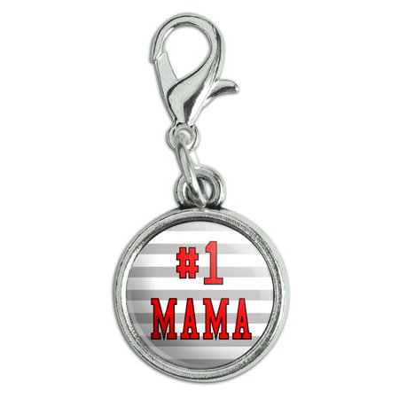 (#1 Mama Number One Mom Mother Antiqued Bracelet Pendant Zipper Pull Charm with Lobster Clasp)