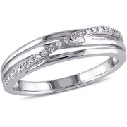 Diamond-Accent Sterling Silver Swirl Cross-Over Ring
