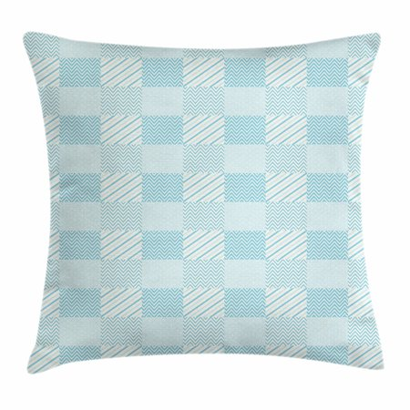 Ivory and White Throw Pillow Cushion Cover, Dots Zigzags and Diagonal Stripes Pastel Toned Geometric Design, Decorative Square Accent Pillow Case, 18 X 18 Inches, Pale Blue and White, by (Polished Diagonal Stripe)