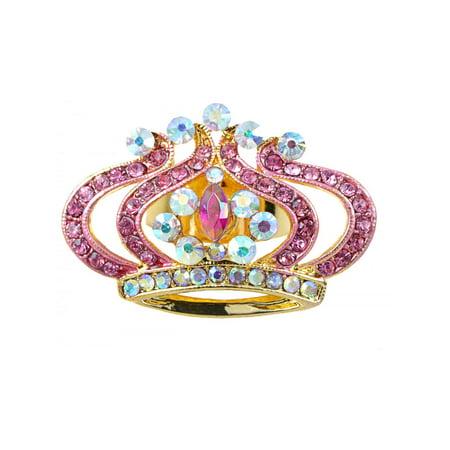Princess Pink Rose Lady AB Czech Crystal Rhinestone Crown King Adjustable Ring