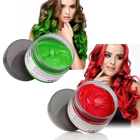 Mofajang Hair Wax 2 Colors Kit Temporary Hair Coloring Styling Cream Mud Dye - - Temporary Red Hair Color