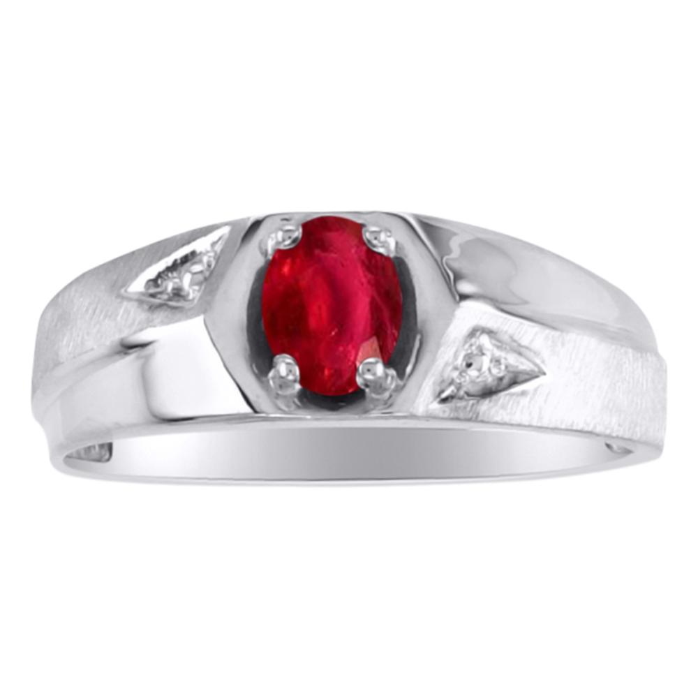 Men's Ruby & Diamond Ring 14K White Gold by Elie Int.