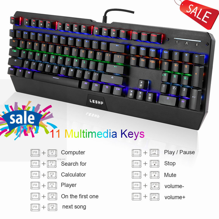1 Pack Gaming Industrial Office USB Wired Mechanical Keyboard With LED Backlight Black for Professional Internet Users