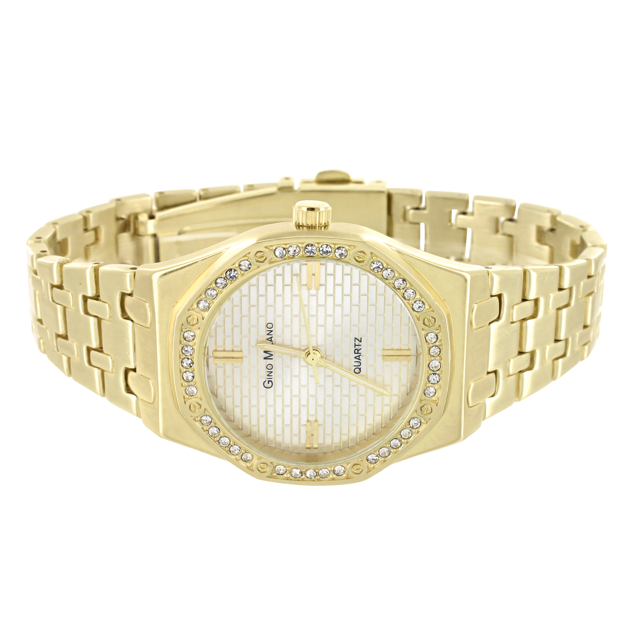 Gold Finish Octagon Watch Brick Design Dial Simulated Diamond Gino Milano Quartz 33mm