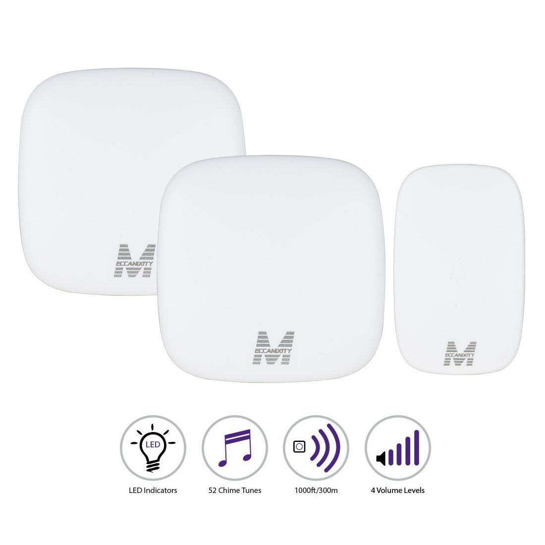 Meccanixity Us Plug Ac110 130v Wireless Doorbell 2 Receivers 1 Schematic Transmitter White