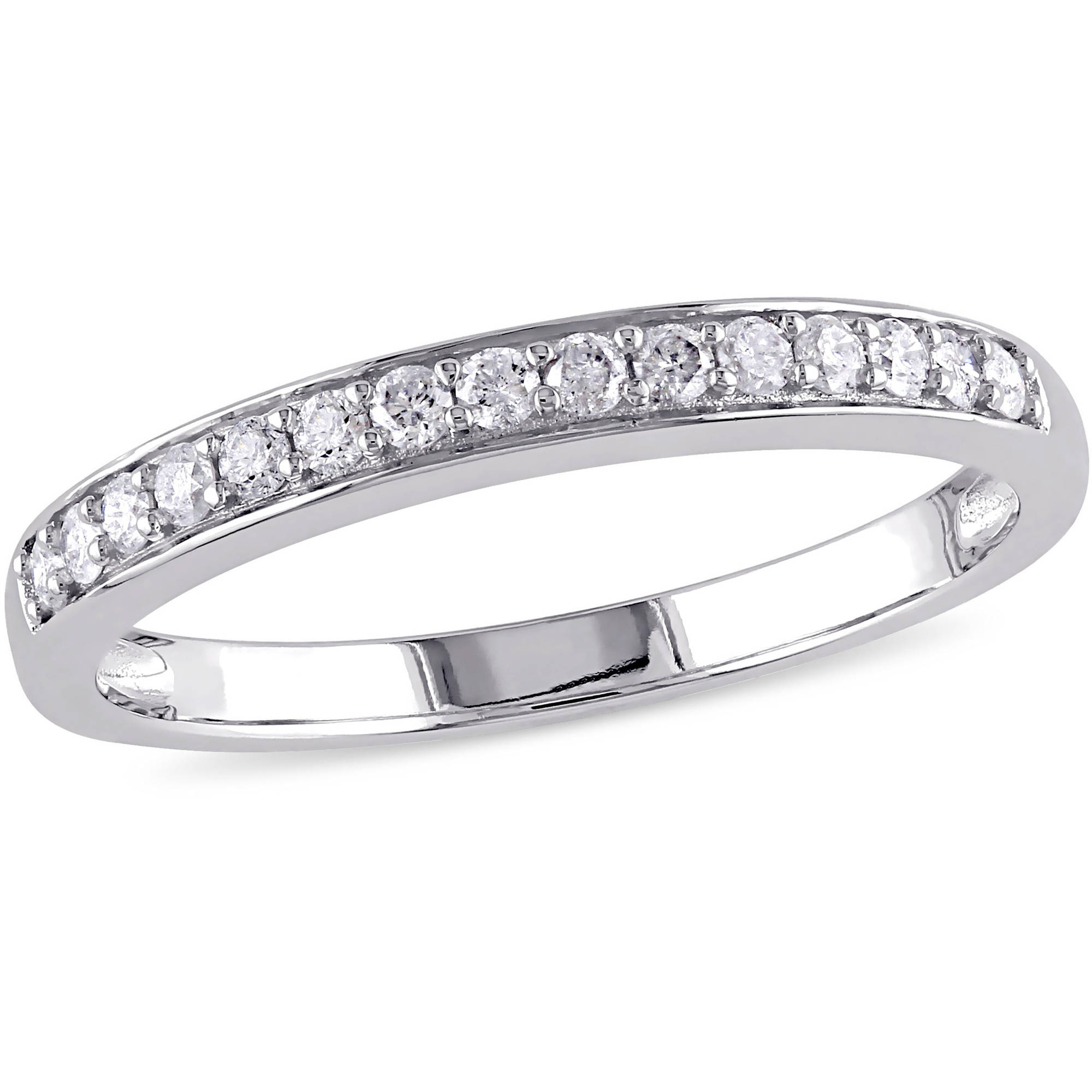 Miabella 1 5 Carat T.W. Diamond 10kt White Gold Semi-Eternity Wedding Band by Miabella