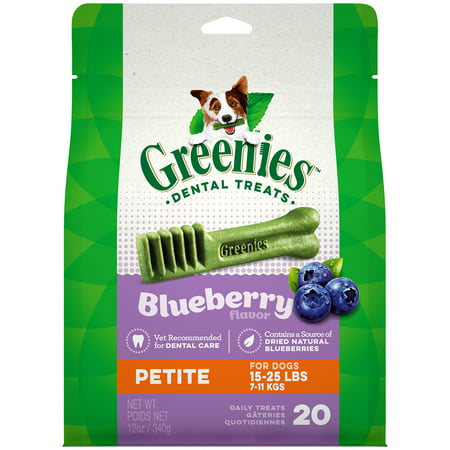 Flavored Chew Sticks - Greenies Petite Natural Dog Dental Chews, Blueberry Flavor, 12 oz. Pack (20 Treats)