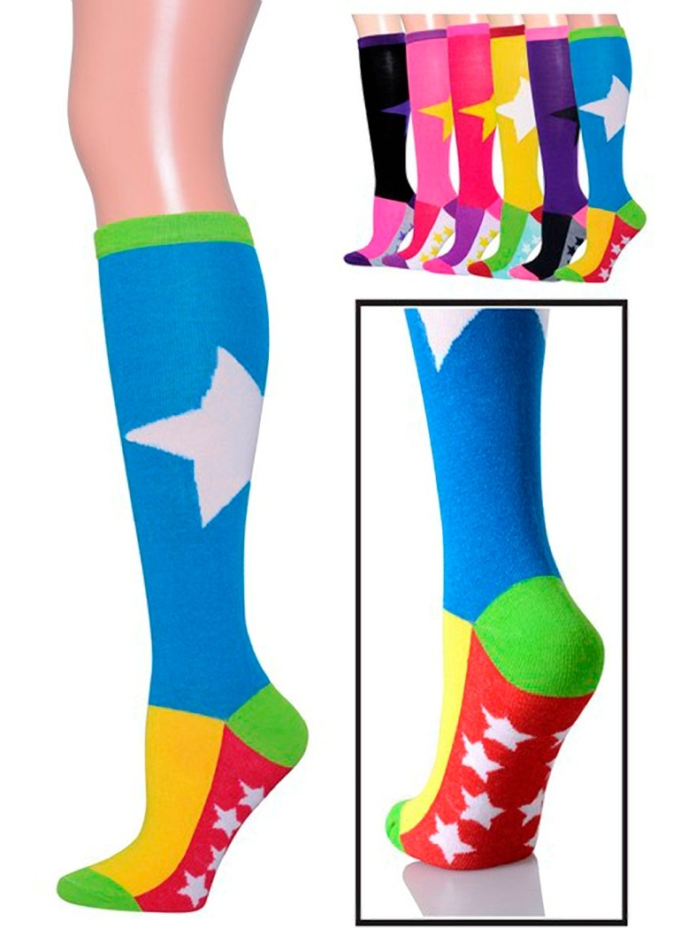 6 Pairs Bold Star-Mini Stars Knee High Socks