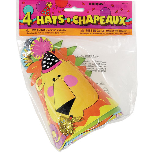 Animal Party Hats Assorted, 4-Count